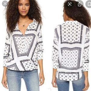 Free People Little Secrets Scarf Printed Blouse